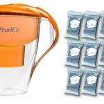PearlCo Wasserfilter Astra orange - Jahres-Paket inkl. 12 unimax Filterkartuschen kompatibel Brita Maxtra Test